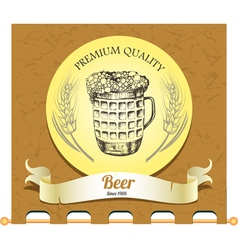 Banner with mug of beer vector image