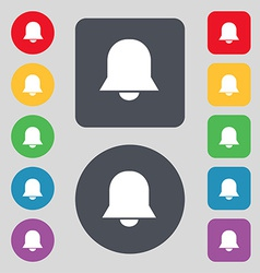 Alarm bell icon sign a set of 12 colored buttons vector