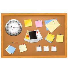 clock office supplies on brown desk vector image