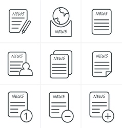 Line icons style newspaper icons set vector