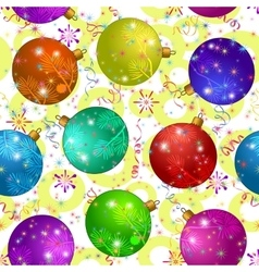 Seamless background with christmas balls vector