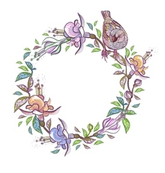 Floral frame with bird wreath perfect for vector