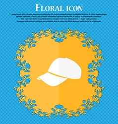 Baseball cap icon floral flat design on a blue vector