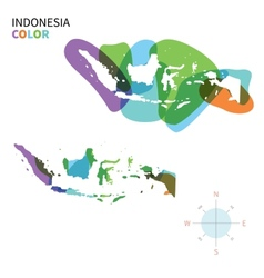 Abstract color map of Indonesia vector image vector image