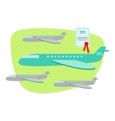 Air and plane travel protected by insurance vector