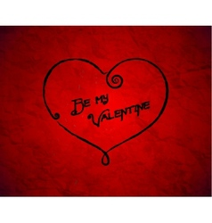 Be my Valentine drawn card on red paper vector image vector image