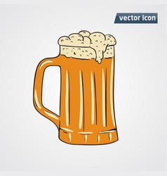 Beer in cup vector