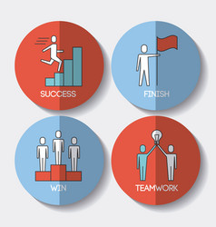 business people success teamwork win and finish vector image
