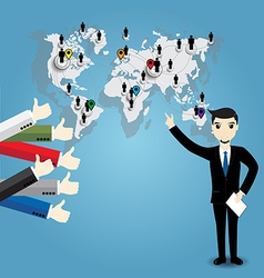 Businessman with world map and Thumb up vector image