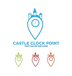 Castle Clock Kingdom Logo vector image vector image