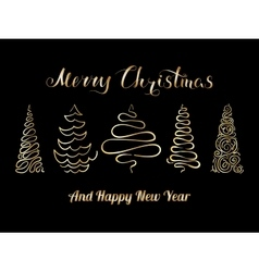 Christmas tree set golden vector