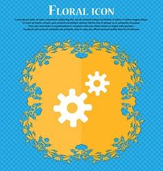 Cog settings cogwheel gear mechanism floral flat vector