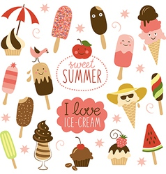 Collection of Ice Cream vector image vector image