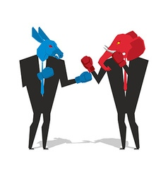 Donkey and elephant are boxing democrat and vector