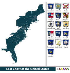east coast of the united states vector image