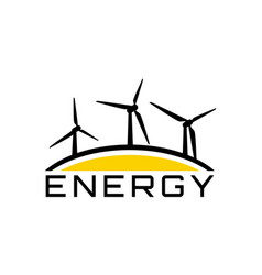 energy logo with wind-driven generator vector image