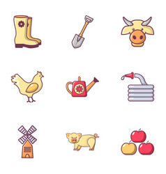 Farmer equipment icons set flat style vector
