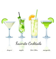 Favorite cocktails set isolated vector image