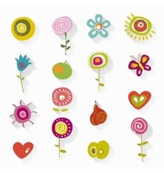 floral element set vector image vector image