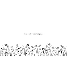 Flower meadow line border isolated on white vector image