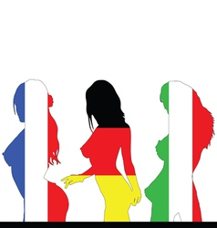 France and germany and italy girl flag color vector