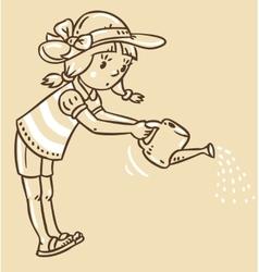 Girl watering the flowers vector