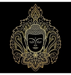 Gold Buddha Head on Floral Background vector image