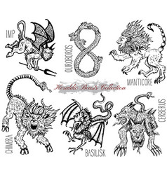 Hand drawn set with heraldic beasts vector