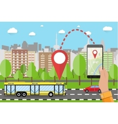 Hand holds smartphone with navigation app vector image vector image