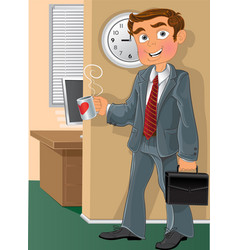 Office worker with cup vector image vector image