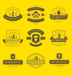 Oktoberfest celebration beer festival labels vector