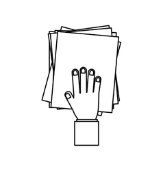Person hand with pile of papers vector
