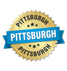 Pittsburgh round golden badge with blue ribbon vector