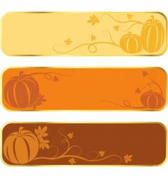 Pumpkin banners with gold rim vector