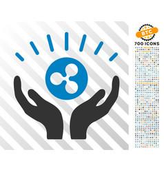 Ripple prosperity hands flat icon with bonus vector