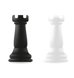 rook chess piece black and white vector image vector image