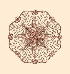 round decorative floral mandala element on beige vector image
