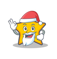 Santa star character cartoon style vector