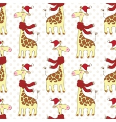 Seamless giraffes pattern vector