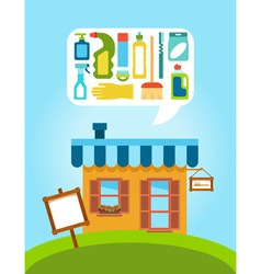 Shop with collection of different household vector