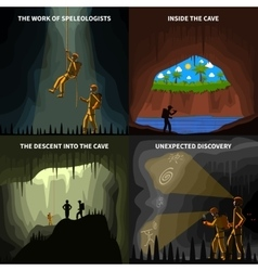 Speleologists 4 flat icons square banner vector