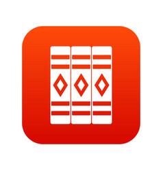 Three literary books icon digital red vector