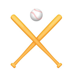 two crossed baseball bats with small white ball vector image