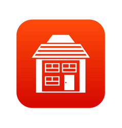 Two-storey house with sloping roof icon digital vector