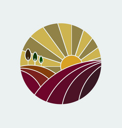 Vineyard colorful icon vector