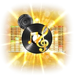 Music in flash treble clef speaker vinyl vector