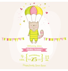 Baby Girl Cat Flying with a Parachute Baby Shower vector image