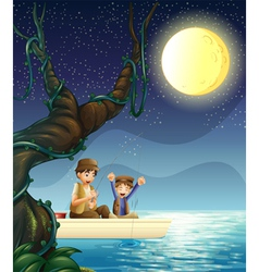 A father and child fishing vector