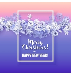 Round snow frame with merry christmas text vector