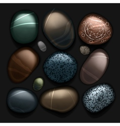 Stones pebble collection isolated on black vector